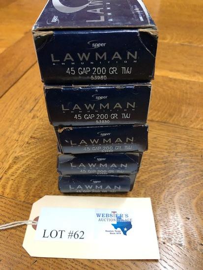 (5)  BOXES LAWMAN 45 GAP