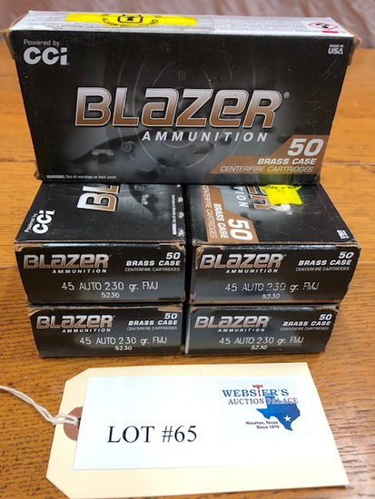(5)  BOXES BLAZER .45 AUTO
