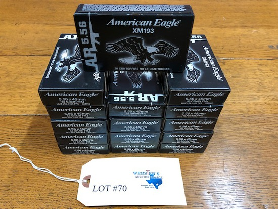 (15) BOXES AMERICAN EAGLE 5.56X45MM