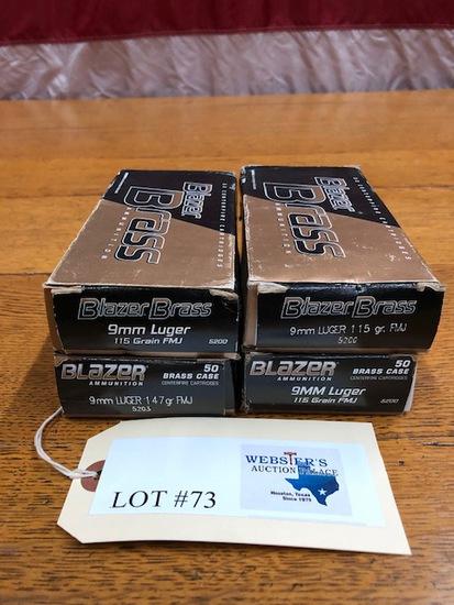(4) BOXES BLAZER BRASS 9MM LUGER