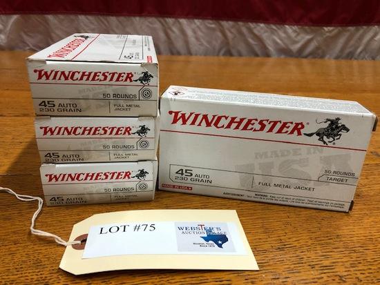 (4) BOXES WINCHESTER .45 AUTO 230 GN FMJ