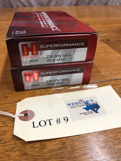 (2 ) BOXES HORNADY 338 WIN MAG SUPER