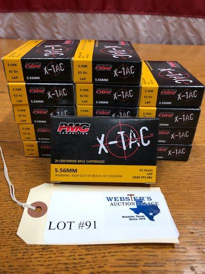 (15) BOXES PMC AMMUNITION X-TAC 5.56MM