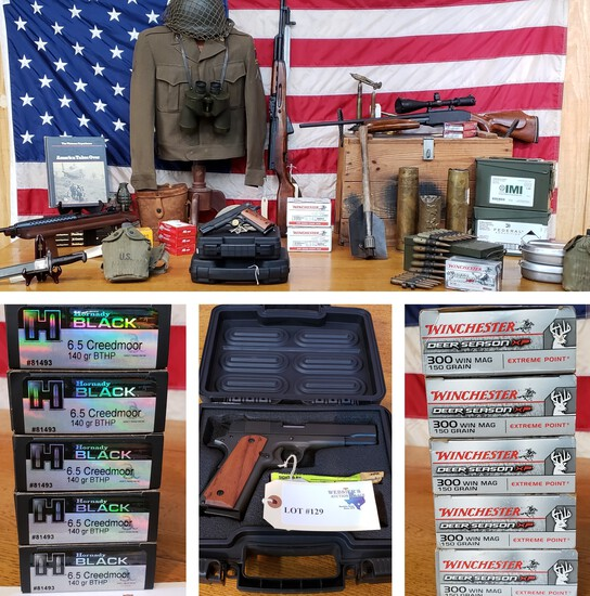 FIREARMS, AMMUNITION & LARGE MILITARY COLLECTION