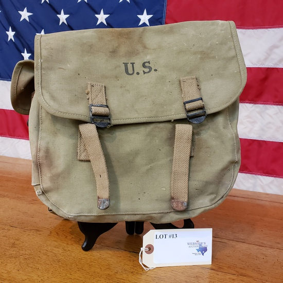WWII CANVAS BACK PACK MYRNA SHOE INC. DATED 1943