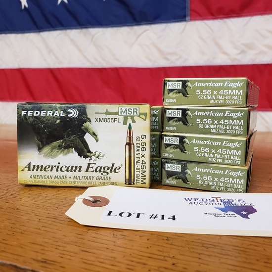 (8) BOXES FEDERAL AMERICAN EAGLE 5.56X45MM