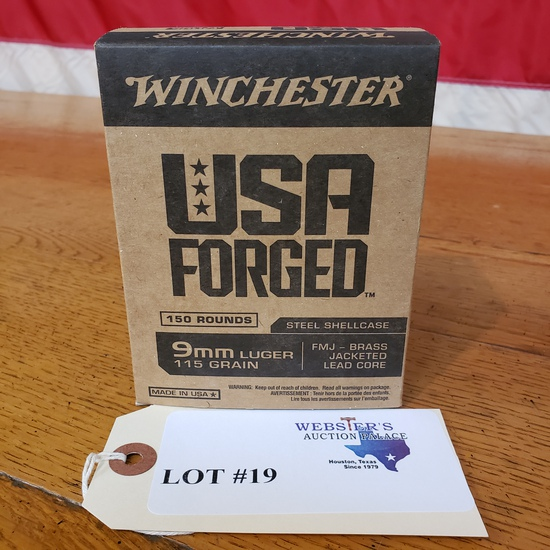 (1) BOX WINCHESTER USA FORGED 9MM LUGER