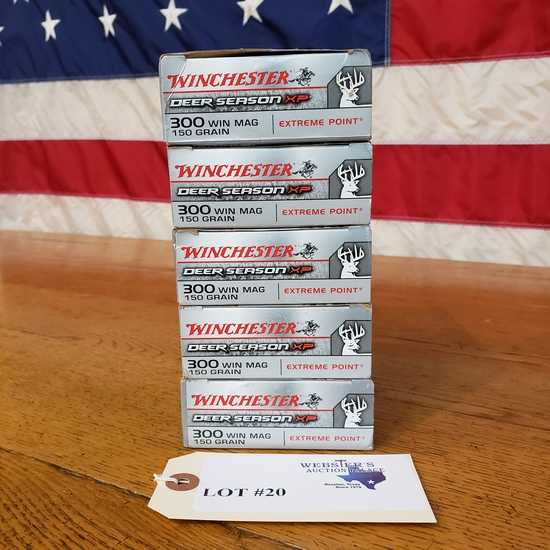 (5) BOXES WINCHESTER DEER SEASON XP 300 WIN MAG
