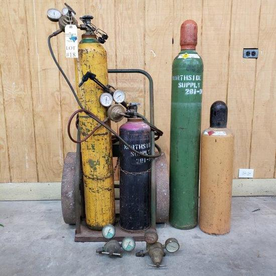 OXY-ACETYLENE TORCH KIT WITH BOTTLES AND CART