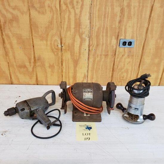 (LOT OF 3) ELECTRIC DRILL, DOUBLE GRINDER AND ROUTER