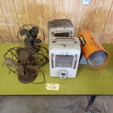 LOT OF 3 ANTIQUE FANS AND 3 HEATERS