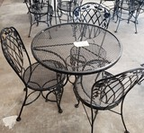 4PC OUTDOOR PATIO ROUND TABLE WITH 3 CHAIRS