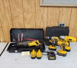 LOT OF DEWALT TOOLS - 18V SAWZALL, IMPACT, DRILLS, BATTERIES AND CHARGER