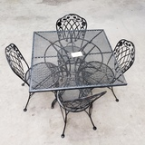 5PC OUTDOOR PATIO SET WITH SQUARE UMBRELLA TABLE
