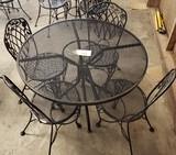 5PC OUTDOOR PATIO SET WITH ROUND UMBRELLA TABLE