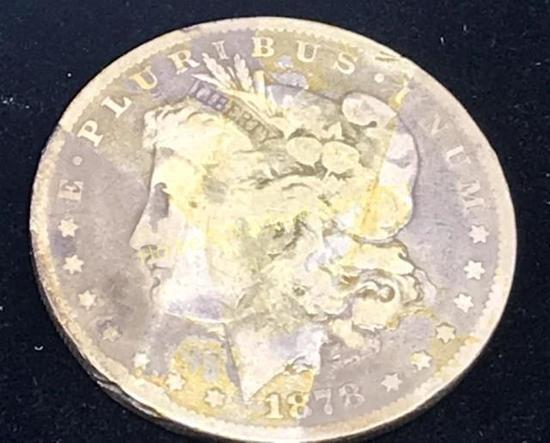 1878 - $1 Morgan Silver Dollar Coin - 7 Tail Feathers - Reverse of 1879