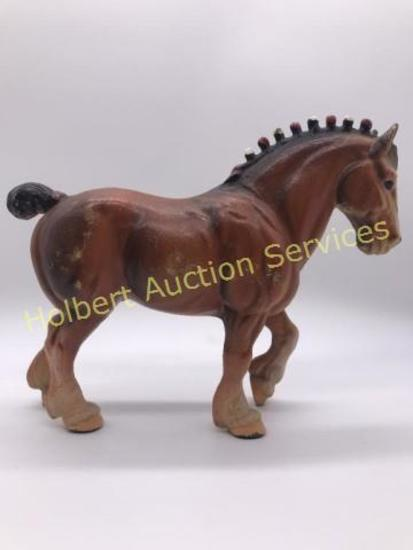 Vintage Cast Iron Clydesdale Draft Horse Doorstop