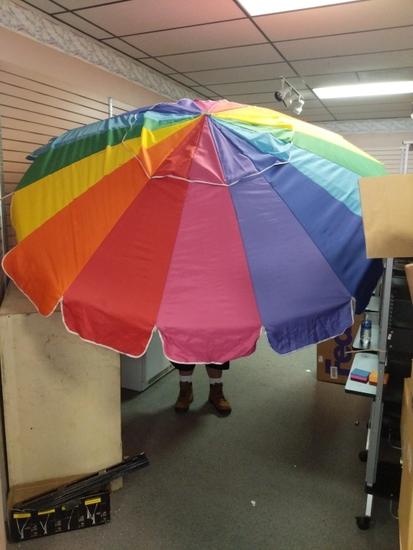 Large outdoor rainbow umbrella