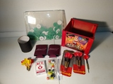Darts, cards, marbles, plastic gaming chips