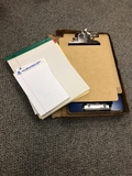 Clip boards and pads of paper
