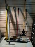 Rake, push brooms and handles