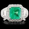 18K White Gold 2.13ct Emerald & 1.11ct Diamond Rin