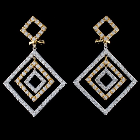 18K Two Tone 3.55ct Diamond Earrings