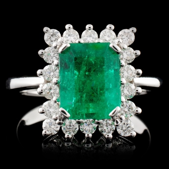 18K W Gold 2.28ct Emerald & 0.57ct Diamond Ring