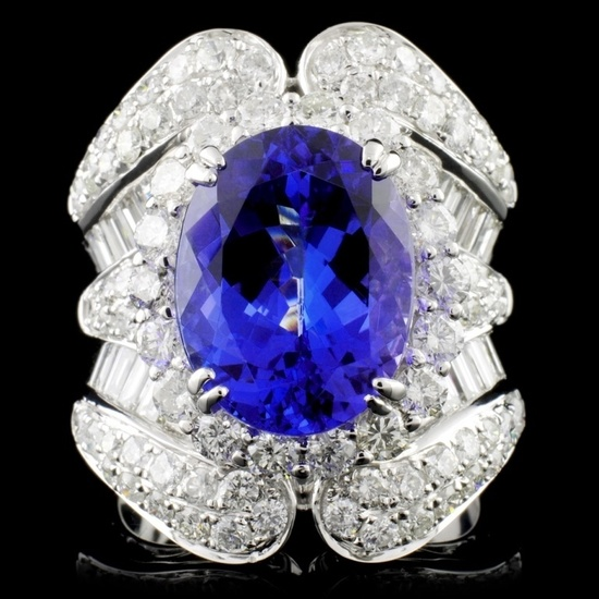 18K W Gold 6.20ct Tanzanite & 3.43ctw Diamond Ring