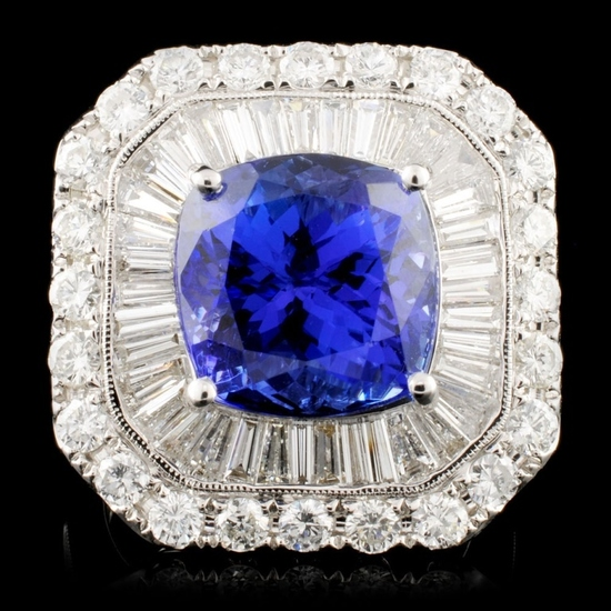 18K Gold 7.60ct Tanzanite & 3.33ctw Diamond Ring