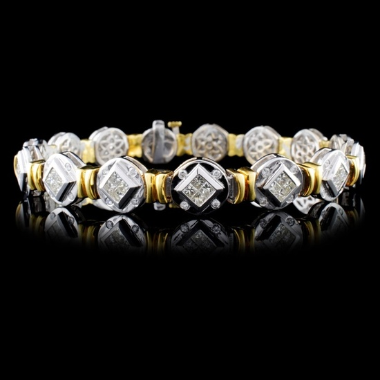 18K Two Tone 3.81ctw Diamond Bracelet