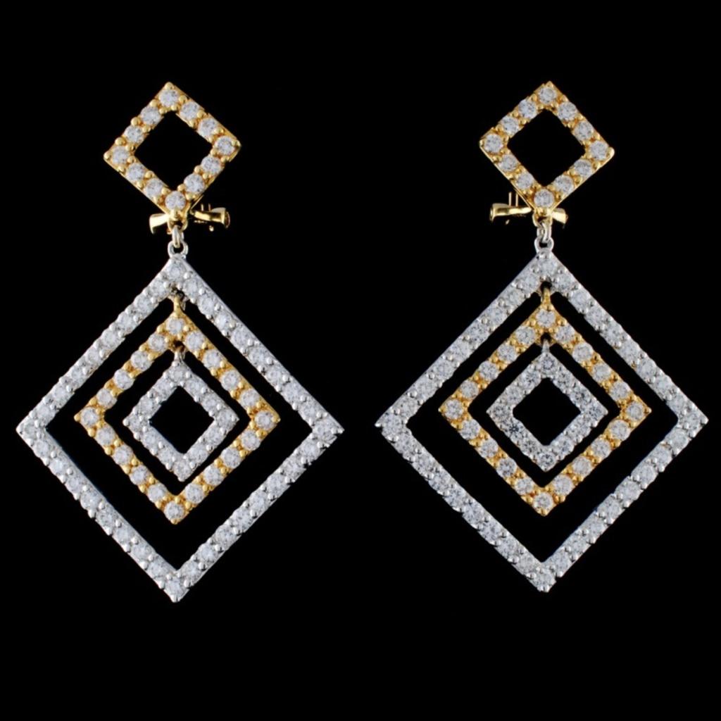 18K Two Tone 3.55ct Diamond Earrings