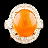 18K Gold 6.75ct Opal & 1.68ctw Diamond Ring