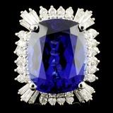18K Gold 22.45ct Tanzanite & 1.98ctw Diamond Ring