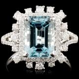 18K Gold 2.98ct Aquamarine & 0.64ctw Diamond Ring