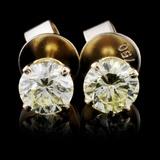 14K Yellow Gold 1.02ct Diamond Earrings