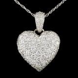 14K White Gold 3.48ctw Diamond Pendant