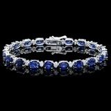 14k Gold 15.00ct Sapphire & 0.50ct Diamond Bracel