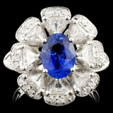 18K Gold 1.74ct Sapphire & 1.26ctw Diamond Ring