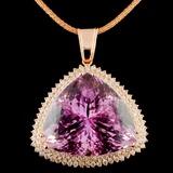 14K Gold 118.41ct Kunzite & 3.04ctw Diamond Pendan