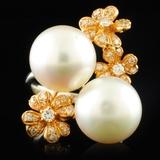 18K White Gold 10.50mm Pearl & 0.32ctw Diamond Rin