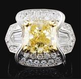 18K White Gold 6.30ctw Fancy Color Diamond Ring