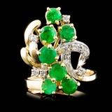 14K Gold 1.75ct Emerald & 0.12ctw Diamond Ring