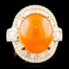 18K Gold 6.75ct Opal & 1.68ctw Diamond Ring