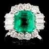 18K W Gold 2.80ct Emerald & 1.00ctw Diamond Ring