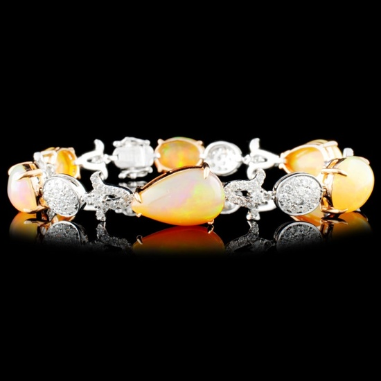 18K Gold 14.24ct Opal 2.23ctw Diamond Bracelet