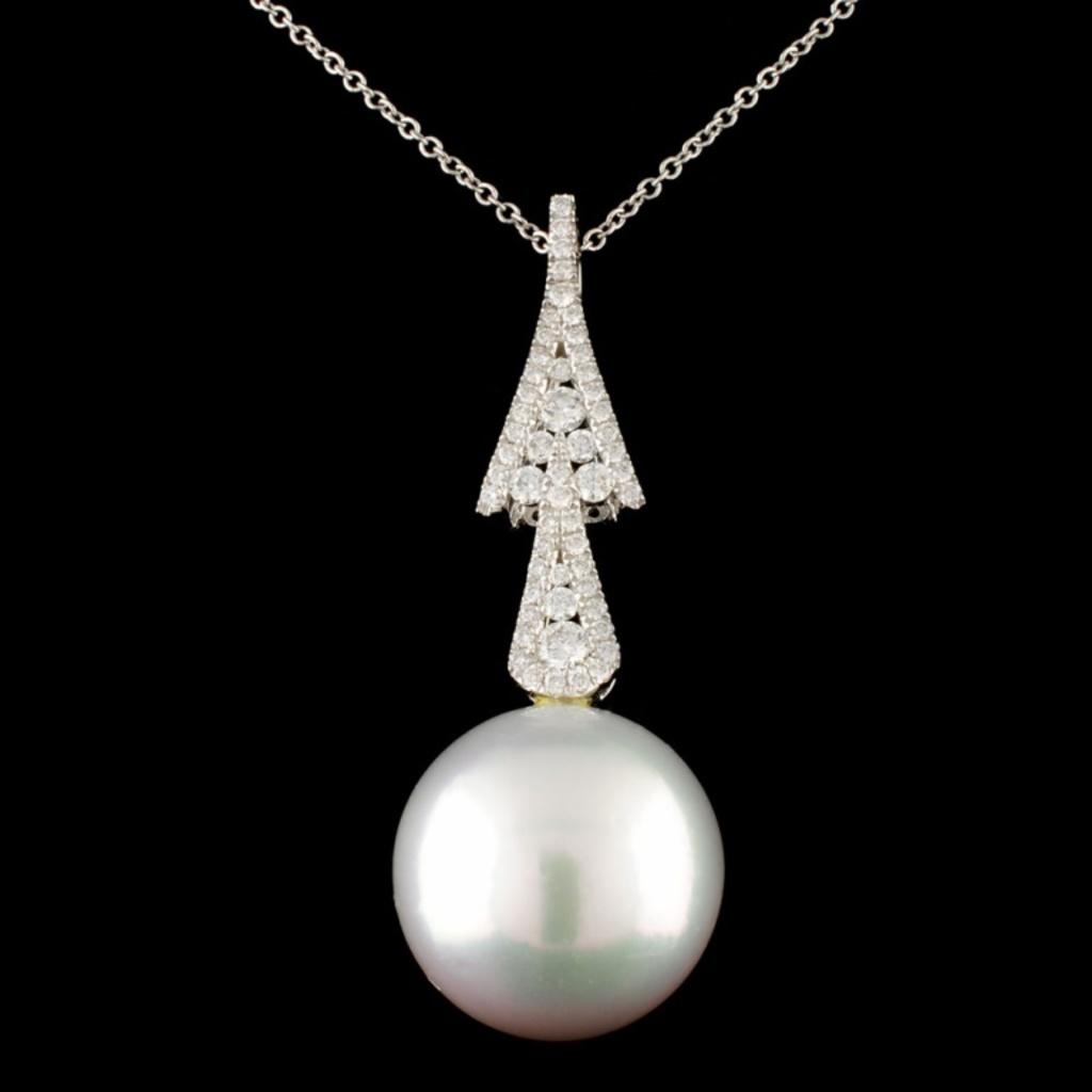 18K Gold 15.00mm Pearl & 0.39ctw Diamond Pendant