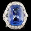 18K Gold 14.46ct Sapphire & 1.94ctw Diamond Ring