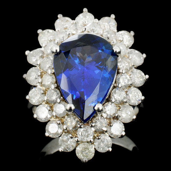 18K Gold 6.00ct Tanzanite & 2.00ctw Diamond Ring