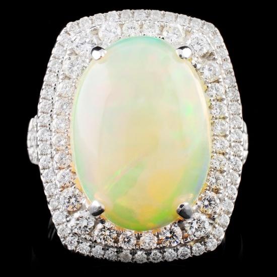 18K Gold 5.89ct Opal & 1.04ct Diamond Ring